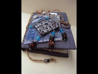 Art Journal with refillable pages, how to diy, recycled denim and cardboard journal