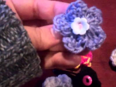 Crochet Flower Hair Clips.