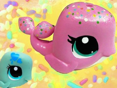 Custom LPS Whale Pink Rainbow Sprinkle Vanilla Cake Inspired DIY Littlest Pet Shop