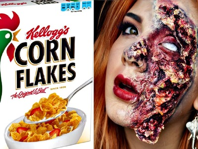 DIY: Rotten.Zombie Skin using Cornflakes (HALLOWEEN TUTORIAL)