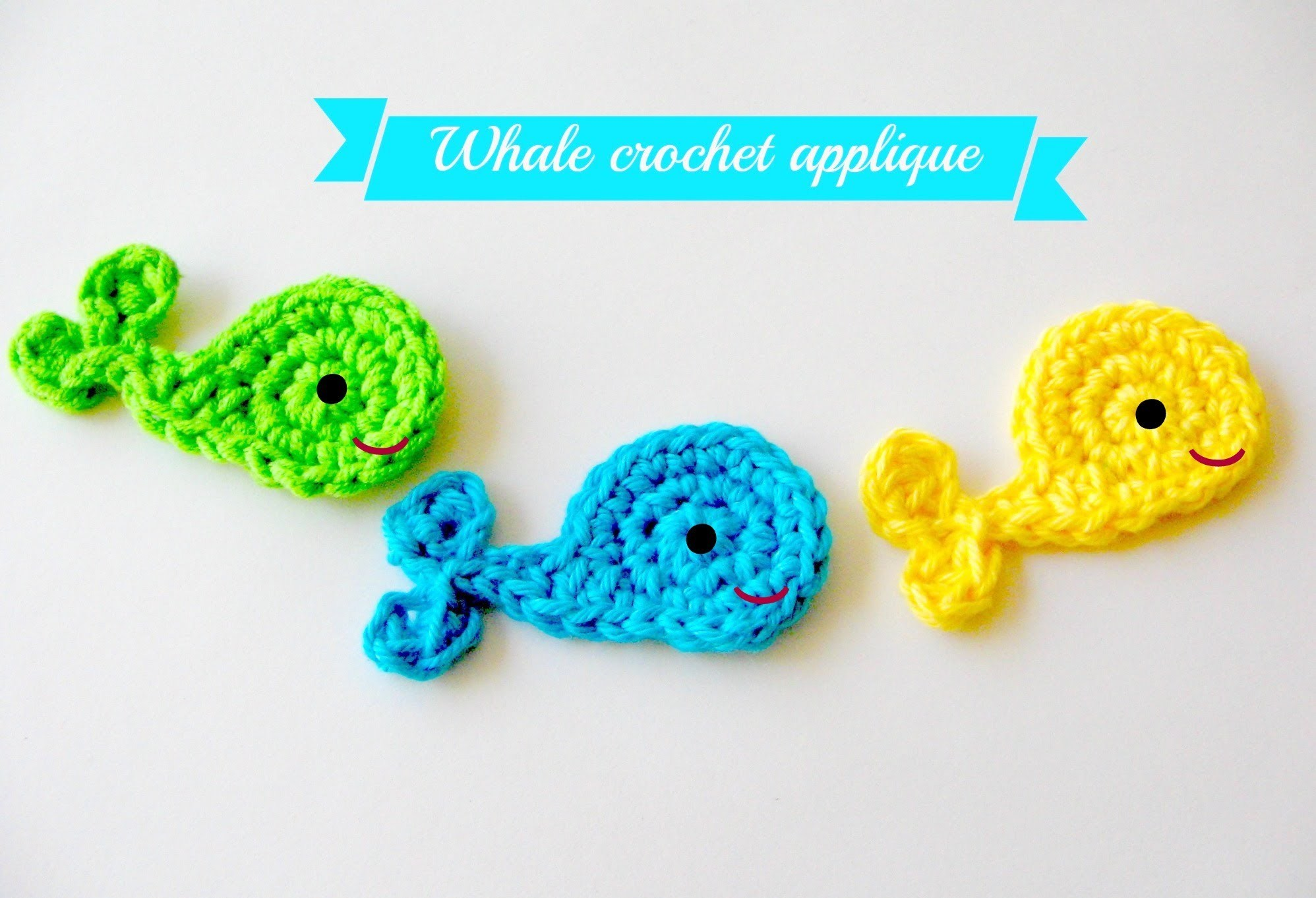 Easy crochet whale applique tutorial free pattern