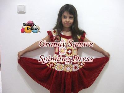 Granny Square Spinning Dress - Left Handed Crochet Tutorial