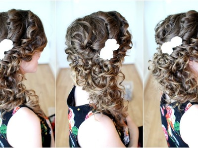 How to : Side Swept Cascading Curls - Easy DIY Prom Wedding Homecoming Hair Tutorial