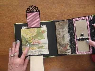 6x6 Scrapbook Mini Album with Tim Holtz Wallflower Paper Stack (Birds, bugs, wildflowers)