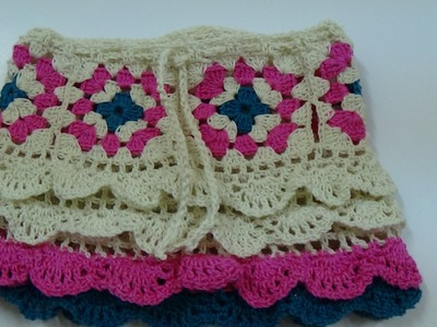 Crochet granny square skirt part-2