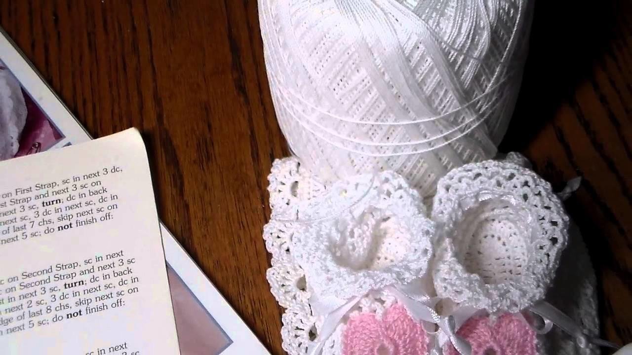 Crocheted Baby Booties & Bonnet