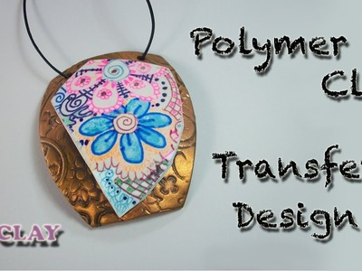 DIY Colored Zentangle Pendant - Polymer clay tutorial Design transfer - Arcillas poliméricas