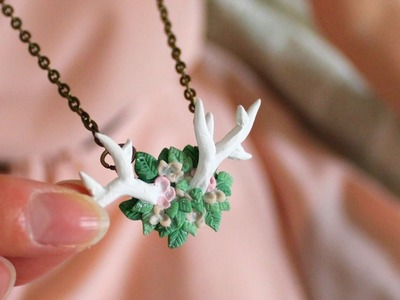 DIY: Flowery Antler Necklace Polymer Clay Tutorial