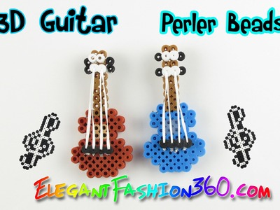 DIY Perler.Hama Beads Guitar 3D Charms - How to Tutorial
