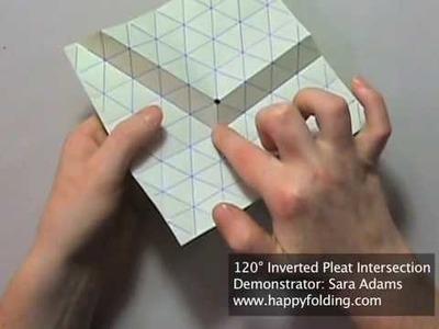 Origami Tessellation Basics: 120 Degree Inverted Pleat Intersection