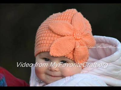 Peach Flower Hat - Knit Hat Pattern - Presentation