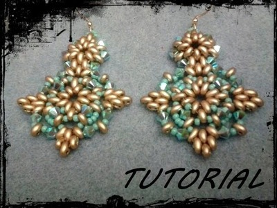 """Tutorial Perline: Orecchini """"Tiffany"""" realizzati con superduo o twin beads"""