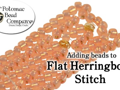 Adding Beads to Flat Herringbone Stitch