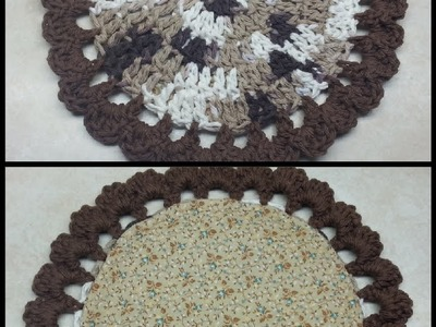 #Crochet Easy Beginner Pot Holder with Hand Sewn Padded Liner #TUTORIAL