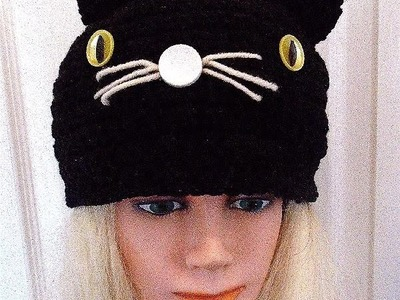 CROCHET PATTERN, BLACK CAT HAT, Halloween hat, all sizes newborn to adult