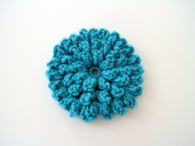 How to Crochet a Flower Left Handed: Crochet Popcorn Stitch Flower Free Pattern