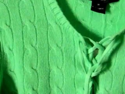 Ralph Lauren $398 cable knit cashmere sweater w.lace-up neckline - TriBeCa Consignment