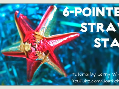 Christmas Crafts - DIY How to Make a 6-Pointed or 5-Pointed Straw Star (Made From Ribbons.Straws)