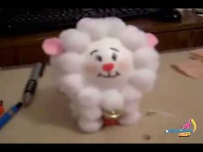 DIY How to make a sheep with pompoms,Christmas ornament