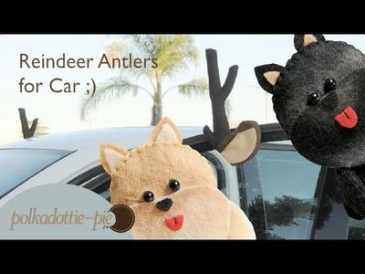 DIY Reindeer Antlers for Car - PolkadottiePie Felt Craft Tutorial