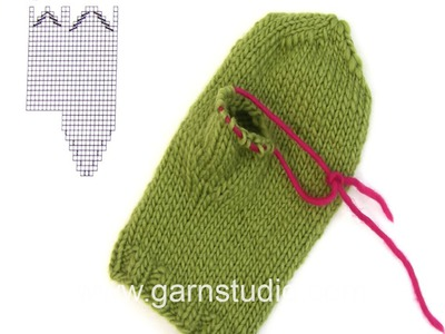 DROPS Knitting  Tutorial: How to work a tumb gusset on a knitted mitten