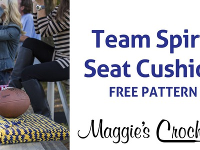 Free Crochet Pattern: Team Spirit Stadium Seat Cushion - Right Handed