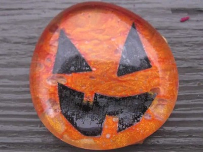 Glass Pumpkin Stones with Nail Polish Craft Tutorial