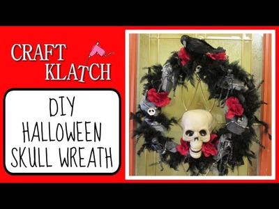 Halloween Skull Wreath DIY Craft Klatch Dollar Store Craft Halloween Series