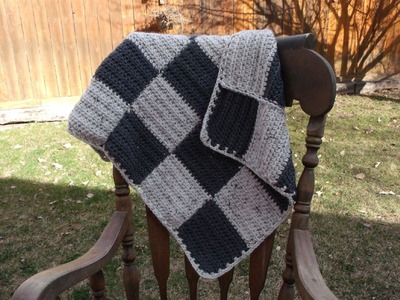 How to crochet a checker board baby blanket