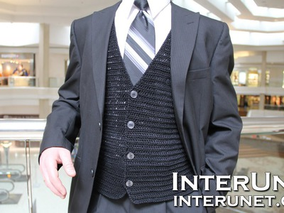 How to crochet a vest jacket - men's waistcoat crochet pattern