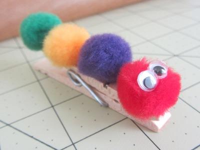 How to Make Clothes Pin Kids Craft Pom Pom Caterpillar Craft Tutorial