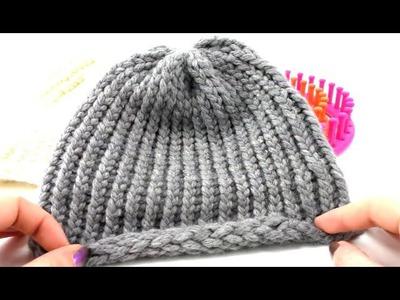 Knitting Loom Mütze Stricken einfach Anfänger Rundstricken Wintermütze