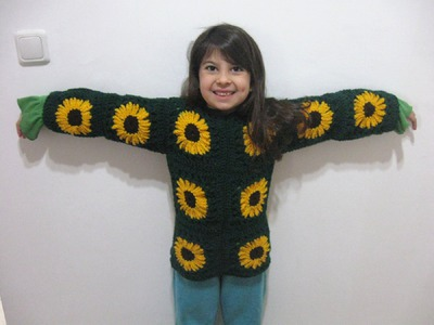 Sunflower Granny Sweater - Left Handed Crochet Tutorial