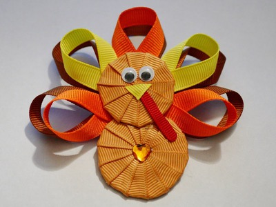 TURKEY Ribbon Sculpture Thanksgiving Holiday Hair Clip Bow DIY Free Tutorial by Lacey