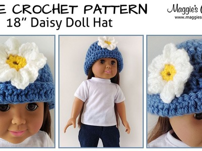 "Daisy Hat for an 18"" Doll Free Crochet Pattern - Right Handed"