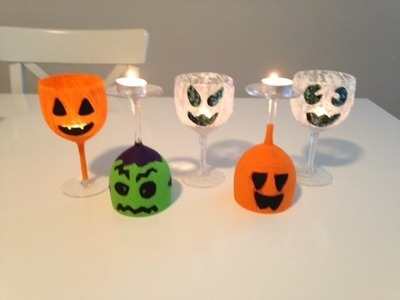DIY Craft! Halloween Wine Glasses by Kerryluvcat!