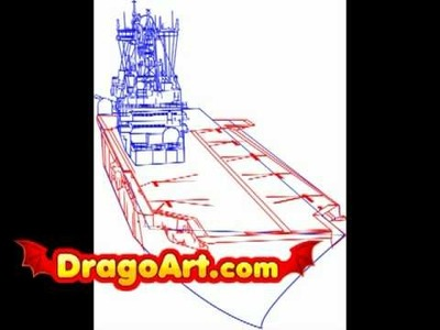 How to draw an aircraft carrier, step by step