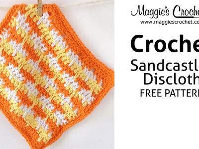 Sandcastles Dishcloth Free Crochet Pattern - Right Handed