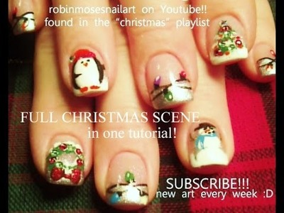 10 Nail art Tutorials | DIY Easy Christmas Nail Designs | FULL Xmas Scene with BLING