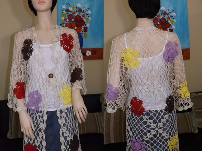 Crochet Summer Cardigan With Granny Squares