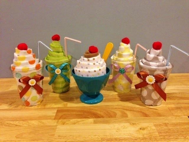 DIY Baby Shower Gifts: Receiving Blanket Milkshakes and Ice Cream Sundae