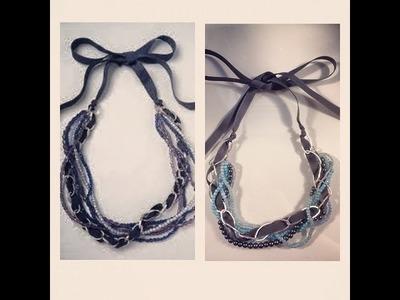 DIY: Bead, Chain & Ribbon Necklace ♡ Theeasydiy #FashionDIY