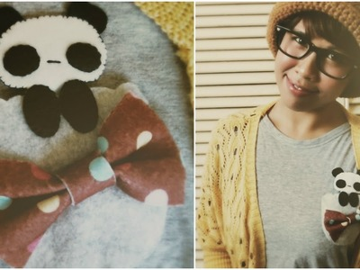 DIY Fashion: Felt Peeking Panda Pocket Tutorial (Upcycle Old Shirts)