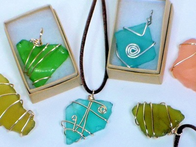 DIY wire wrapped sea glass pendants