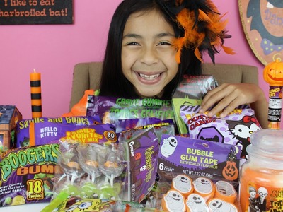 Halloween Candy Haul Hello Kitty Witch Hats Lollipop Skulls Boogers Gummies Spooky Body Parts