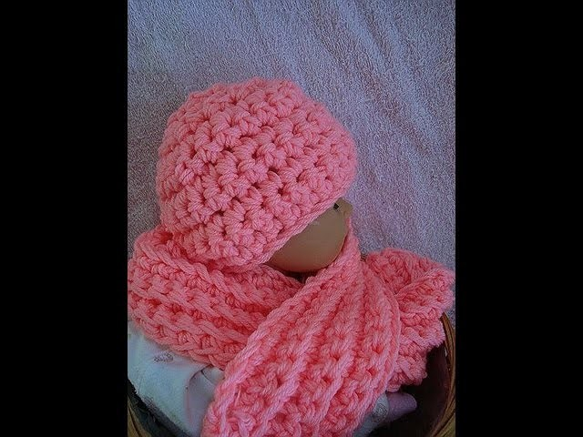How to crochet a hat and scarf set from Sweet Potato Patterns, youtube video, baby