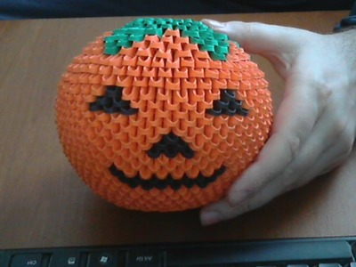 How to make 3d origami Halloween pumpkin model2