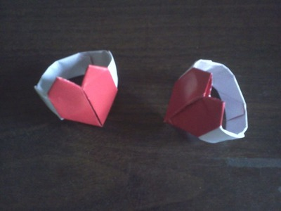 Origami heart ring- Anillo de corazon de papel