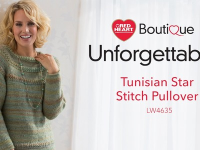 Tunisian Star Stitch Pullover in Red Heart Boutique Unforgettable