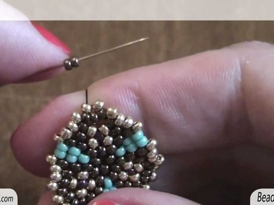 BeadsFriends: Peyote Stitch Tutorial - How to make bead earrings - circular peyote stitch